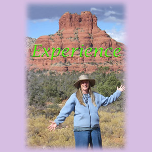 The word experience over Sedona Healer Cynthia Tierra's head at Bell Rock vortex