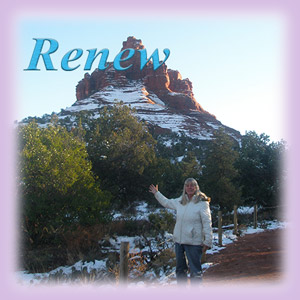Sedona Healer Cynthia Tierra at Bell Rock vortex with the word renew over her head