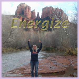 sedona Healer Cynthia Tierra at Cathedral Rock vortex with the word energize above her head