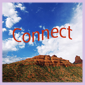 The word connect floating over a Sedona vortex