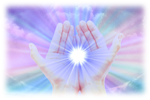 Two hands with purple and blue rays coming forth from them representing healing with Reiki energy in Sedona