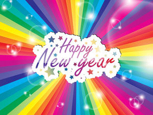 happy new year in text with a bursting rainbow background