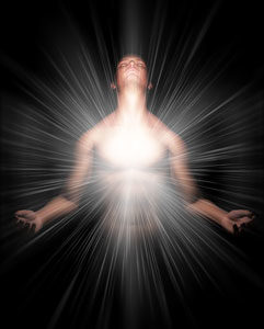 image of light energy burst coming from the solar plexus area of a man